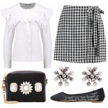 Outfit Bianco nero e vichy