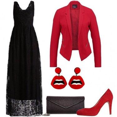 Outfit Elegante con rosso e nero