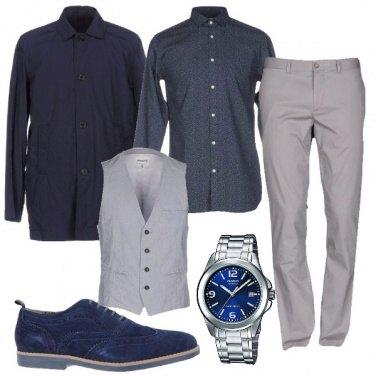 Outfit Uomo in grigio e blu