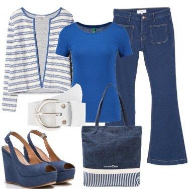 Outfit Denim e righe