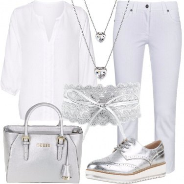 Outfit Argento su bianco