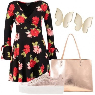 Outfit Nero a fiori sgargianti