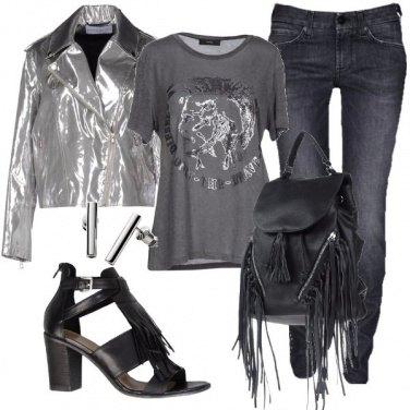 Outfit Il biker color argento