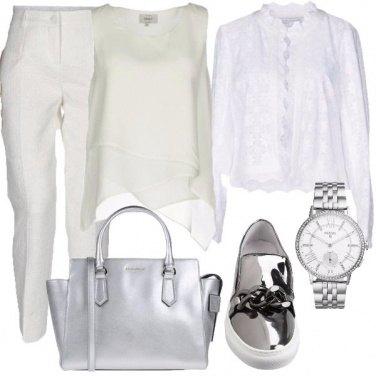 Outfit Bianco con un tocco silver
