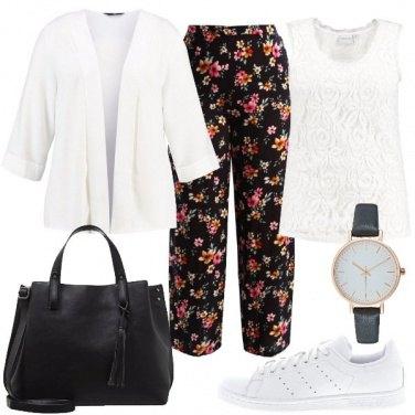 Outfit Bianco e nero fiorito