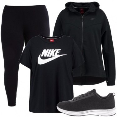 Outfit Fitness in total black
