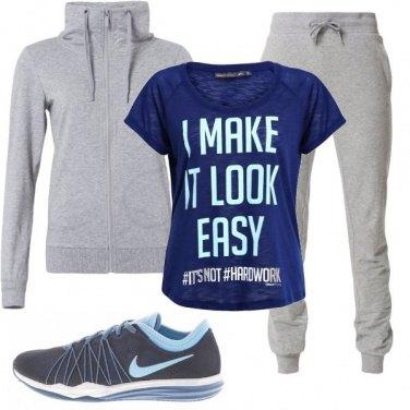 Outfit Blu e grigio per il fitness