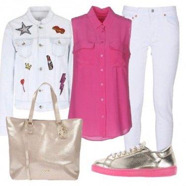 Outfit Fucsia e oro