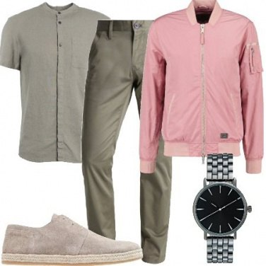 Outfit Khaki e rosa