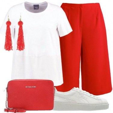 Outfit Comodità in bianco e rosso