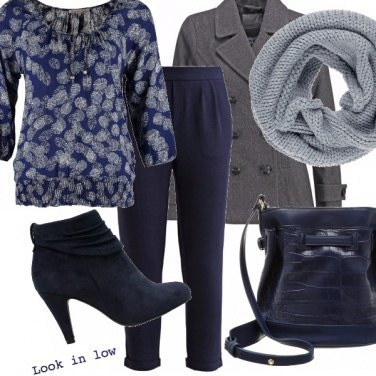 Outfit Look in low - blue and grey
