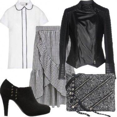 Outfit Vichy e pelle