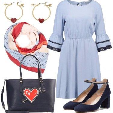 Outfit Romantica in rosso e blu
