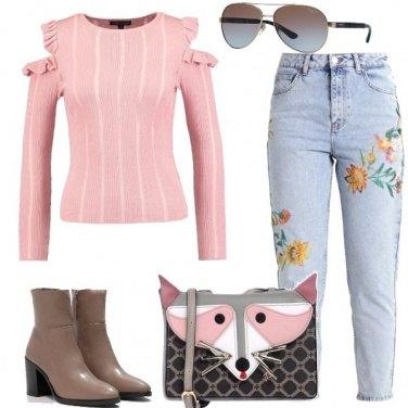 Outfit Il maglioncino rosa