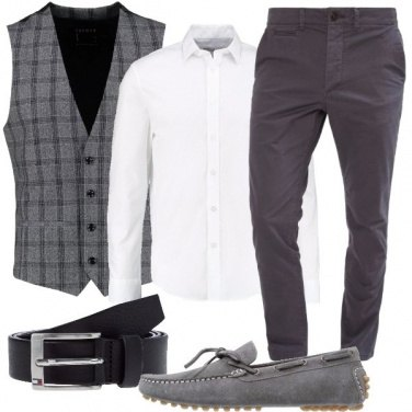 Outfit In gilet col grigio