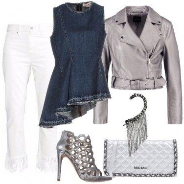 Outfit Frange denim silver e tacco a spillo