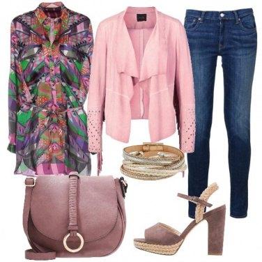Outfit La blusa a fantasia multicolore