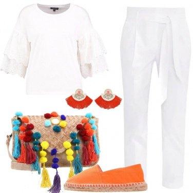 Outfit Bianco e arancione