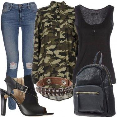 Outfit Tra pelle e comouflage