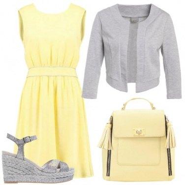 Outfit Leggerezza in giallo e grigio