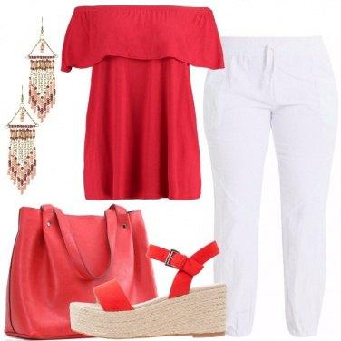 Outfit Rosso e bianco per la donna curvy