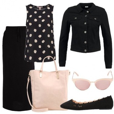 Outfit Pois nude sul nero