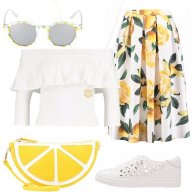 Outfit In bianco e giallo