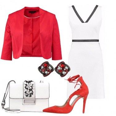 Outfit Chic in bianco nero e rosso