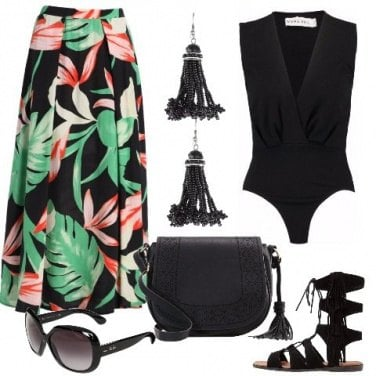 Outfit Nero e tropical