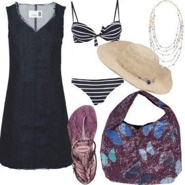 Outfit Al mare in jeans e lustrini