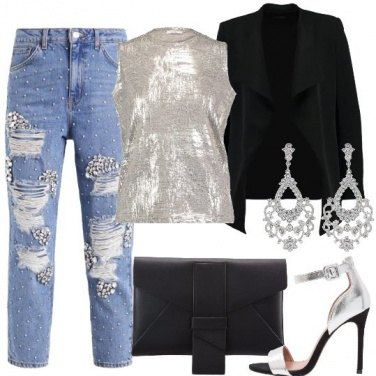 Outfit Strass e argento
