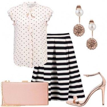 Outfit Righe pois e rosé
