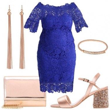 Outfit Pizzo blu e oro rosa