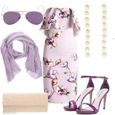 Outfit Il tubino lilla a fiori