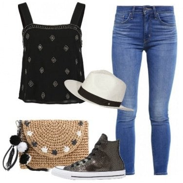 Outfit Cappello e sneakers