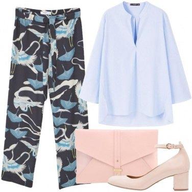 Outfit Celeste e rosa
