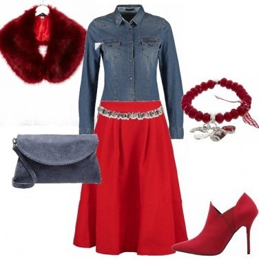 Outfit Denim&red