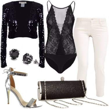 Outfit Pizzo e pailettes