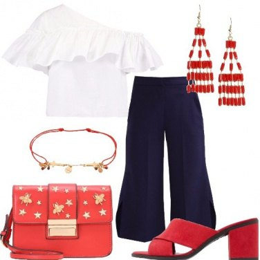 Outfit Bianco rosso e blu