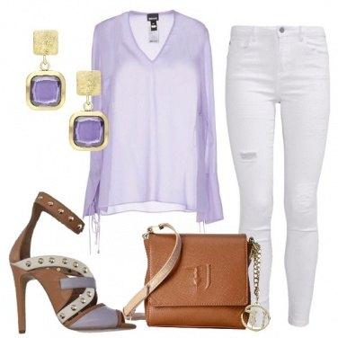 Outfit Lilla bianco e cuoio