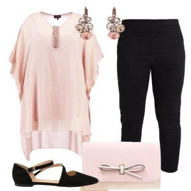 Outfit Cerimonia in rosa e nero