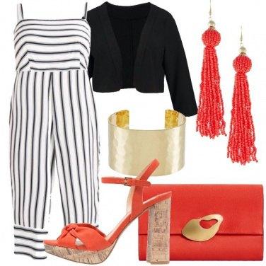 Outfit Righe e corallo