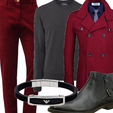 Outfit In doppio petto marsala