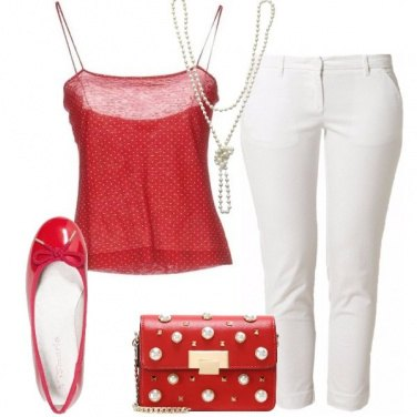 Outfit Rosso e perle