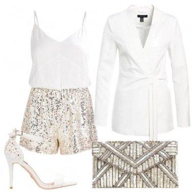 Outfit Bianco e paillettes