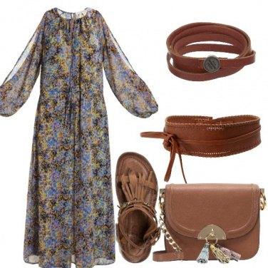 Outfit Floreale e cognac