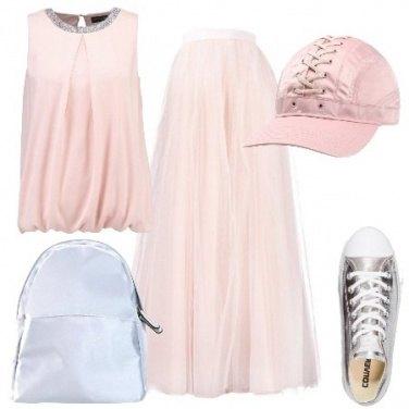 Outfit Argento e rosa