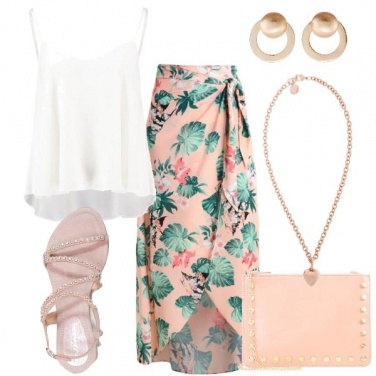 Outfit La gonna a fantasie tropicali