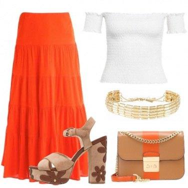 Outfit Maxi gonna arancione
