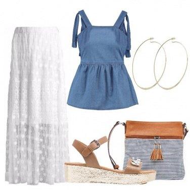 Outfit Bianco denim e caramello